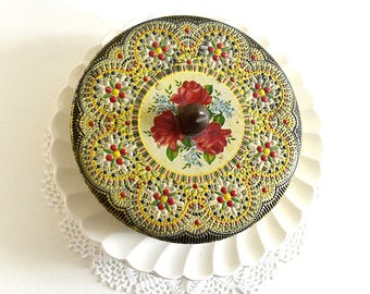 vintage round storage tin collectible tin storage tin floral tin textured tin Holland tin