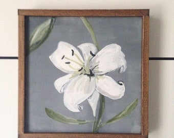 Easter lily spring sign - 6x6 - farmhouse floral sign - handpainted wood stand alone sign, free standing easter lily art