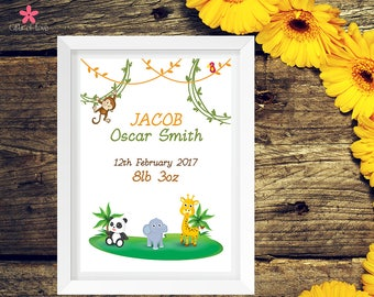 Personalised Jungle Theme Baby Print