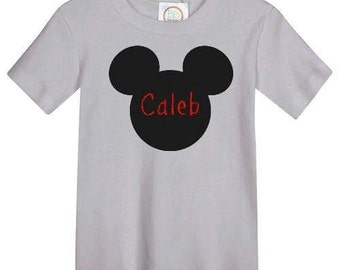 Mouse Silhouette Tshirt Boys  EMBROIDERED