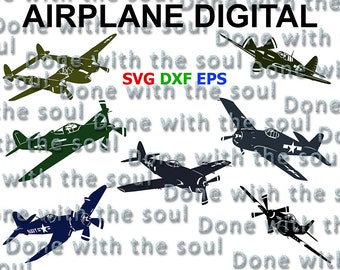 Airplane digital - Plane download - Aircraft - Plane svg – Airplane cut - F4u - Grumman - Lockheed - P-51 - P-47 - P 38 - Svg,dxf,eps