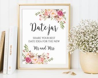Date Jar Sign, Date Night Jar, Date Night Sign, Date Night Ideas, Date Ideas, Date Night Sign, Date Sign, Wedding Sign, Printable Sign, C1