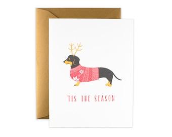 Dachshund Weiner Dog - Christmas Holiday Letterpress Card
