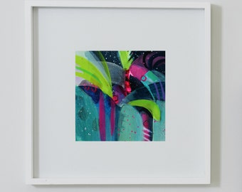 Palm Trees and Shooting Stars. Original Small Abstract Painting. Modern Art. Contemporary Acrylic Painting. Green, Blue, Pink, Purple.