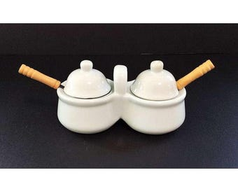 Vintage White Condiment Serving Dish with Two Bowls, Lids and Spoons