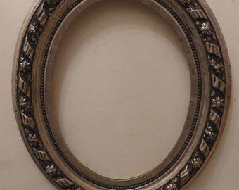 "Superb Antique / Vintage French Silver Gilt & Black Oval Picture Frame 19"" x 16"""
