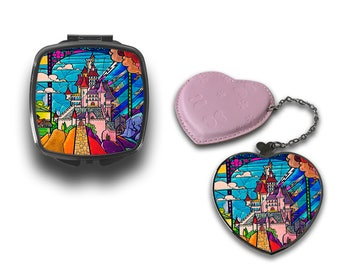 Disney Stained Glass Fairy Tale Castle Compact Makeup Handbag Mirror CM124