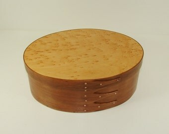 Shaker Oval Box - American Cherry with Birdseye Maple Top