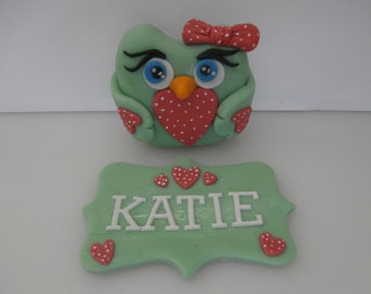Owl and Name plaque, cake topper, sugar paste, fondant, edible, birthday, christening, any colour, girl, baby