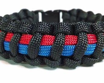 Police and Fire Paracord Bracelet, Survival Bracelet