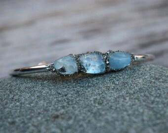 Aqua Marine Cuff Bracelet, March Birthstone Gift, Raw Aqua Marine Pyrite Bangle, Genuine Stone Cuff, Mineral Jewelry, Boho Chic Blue Cuff