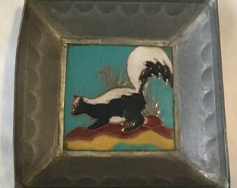 Arts & Crafts Pewter Framed Skunk Art Tile