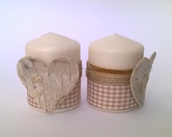 2 Valentine, heart decorations ribbons beige and Brown bark candles