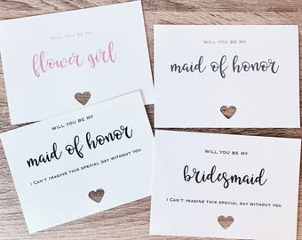 "Wedding Bridal Party cards. ""will you be my"" plus Card to put them in."