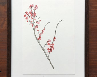 berry branch print