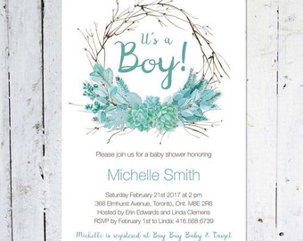 Baby Shower Invitation Boy, Wreath Baby Shower Invitation, It's A Boy, Turquoise, Floral, Rustic, Printable, Printed, Fall