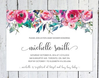 Baby Shower Invitation Girl, Floral, Watercolor, Colorful, Leaves, Horizontal, Printable, Printed, Baby Shower Invite