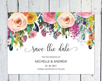 Save The Date Cards, Floral, Postcard, Save The Date Invitation, Wedding, DIY, Colorful, Watercolor, Save The Date, Printed, Printable