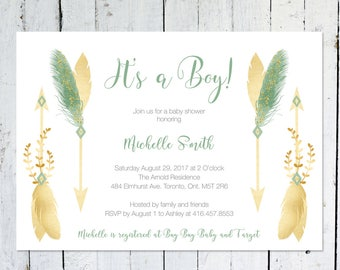 Baby Shower Invitation Boy, It's A Girl, Feathers, Boho, Floral, Arrows, Watercolor, Tribal, Printable, Printed