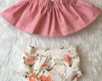Baby girl blush pink crop top, peasant crop top, baby tube top, girls crop top