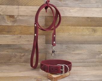 Handmade leather leash, Leash, Dog leash, Pet gift, Rustic leather leash, Burgundy leather leash, English leather leash, Strong leash.