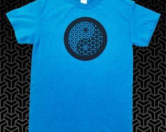 Sapphire Blue Yin Yang Flower of Life Sacred Geometry T Shirt