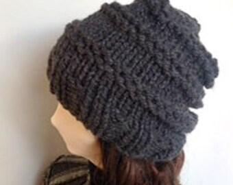 Black Chunky Knit Hat/Black Knit Hat/Black Slouch Knit Hat/Black Slouch Hat/Black Beanie/Knit Beanie/Chunky Knit Beanie/Knit Slouch Hat