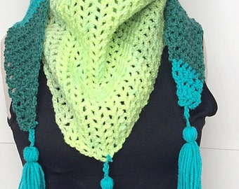 Turquoise Crochet Scarf with Tassel/Crochet Shawl/Green Crochet Scarf/Green Crochet Shawl/Turquoise Crochet Scarf/Tassel Shawl/Tassle Scarf