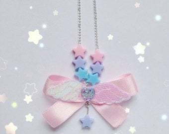 Cute Angelic Bow Necklace With Star Detail, Fairy Kei, Mahou Kei, Sweet Lolita, Harajuku etc inspired