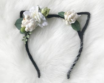 Black Kitty Ear Headband with White & Cream Flower Crown