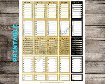 PRINTABLE Black & Gold Stacking Side Boxes for MAMBI Happy Planner New Years Functional Full Box Half Box Checklist Stackable