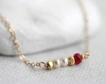 Multi Gemstone Necklace, Mixed Gemstones, Gem Bar Necklace, Gold Filled Chain, Ruby, Freshwater Pearl