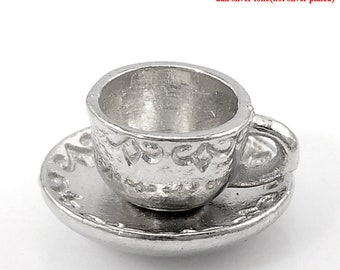 Tea Cup Charms, Pack of 10 - Antique Silver (1547)