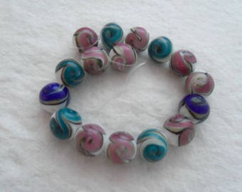 Mixed Blue/Mauve/Cocoa/Teal Round Handmade Gold Sand Lampwork Beads 12 mm about 15 pcs  per strand (1399B)