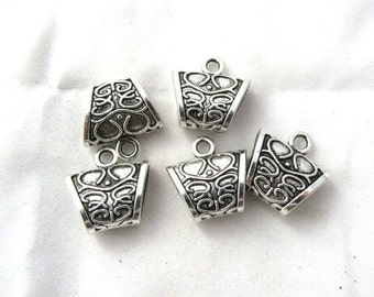 5 Antique Silver Carved Scarf Bails 23 x 23mm (s9d)