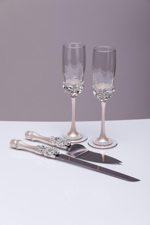Wedding Silver Glasses And Cake Server Set Cake Knife Silver