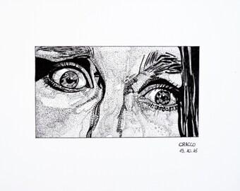 TERROR, EYES 3 (woman portrait -black ink illustration- print)
