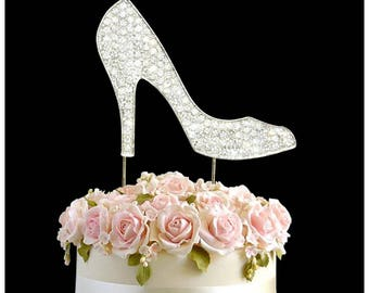 Rhinestone Crystal High Heel Shoe Silver Wedding Cake Topper Number Pick Happy Birthday Anniversary Diamante Gems Decoration Celebration