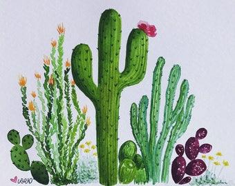 Cactus Family - watercolor - cactus - 8x10 - hand painted - succulent - desert - home decor - cacti - prickly pear - ocotillo - saguaro