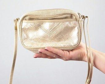 Vintage Gold Faux Leather and Textile Bag