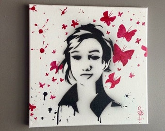 Pop Art Girl with Butterflies