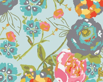 Art Gallery Fabric - Bari J Lilly Belle Garden Rocket Turquoise Fabric - LillyBelle Floral Flowers  - Spring Summer Sale Fabric by the Yard