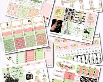J'adore Paris Vertical Kit INCLUDES GLITTER HEADERS - Matte or Glossy Vinyl Planner Sticker - Erin Condren Life Planner Sticker Kit