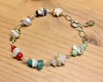Keshi Pearls and Gemstones bracelet