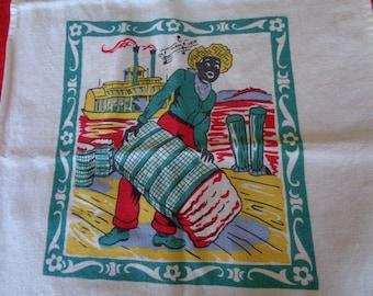 Vintage BLACK AMERICANA Tea Towel Ole Man River MAMMY Mississippi River Paddlewheel Boat Cotton Bale