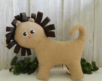 Stuffed tan lion plush toy, fleece lion toy, gift for girls, gift for boys, lion stuffed animal