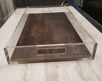 Custom Clear Acrylic Lucite Tray, Gift Ideas, Lucite Tray with Inlay, Acrylic Lucite Serving Tray