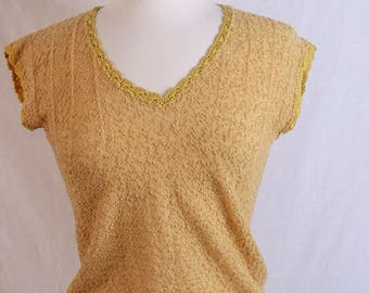 1960s Yellow Knitted Blouse Size Small