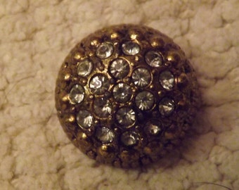Vintage Metal (brass look)  and Rhinestone Buttons (4)