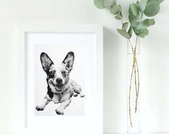 Custom Pet Portrait - 8X10 inch - Black and White - Acrylic - Corgi Painting